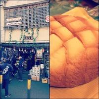 浅草 花月堂 もう一つお代わり asakusa 焼き立て bakery 大きいメロンパン 表面